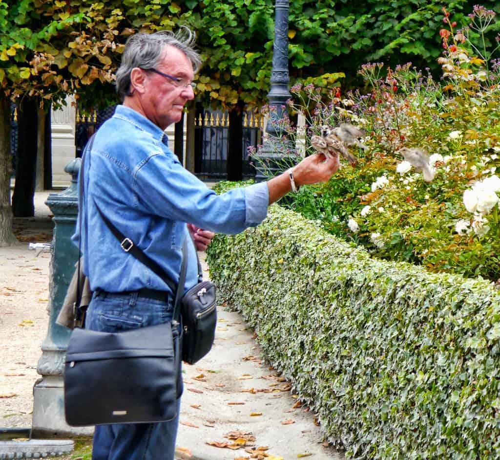 The birdman at the Palais-Royal in Paris