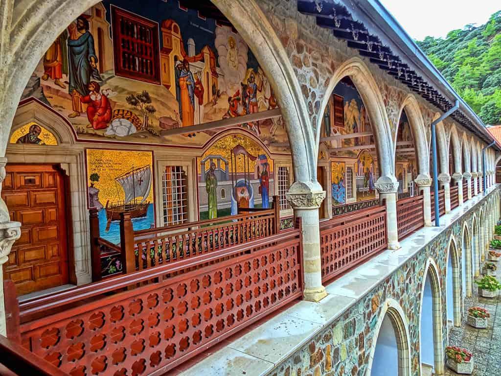 Famous landmarks in Cyprus - Kykkos monastery frescoes in the Troodos mountains