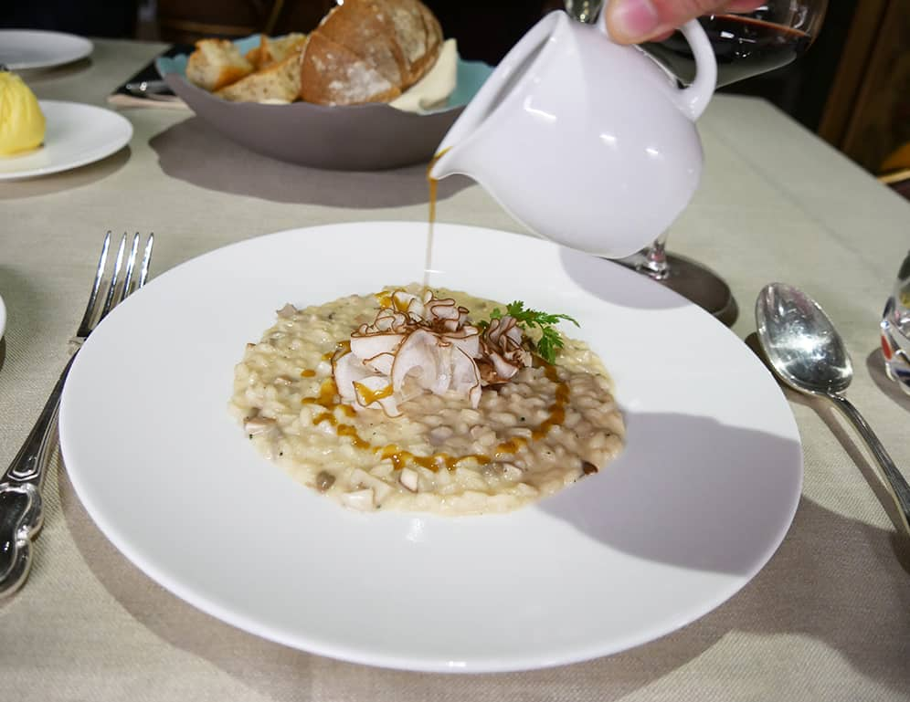 Risotto dish at GLAM Restaurant in the luxurious Palazzo Venart, Venice, Italy