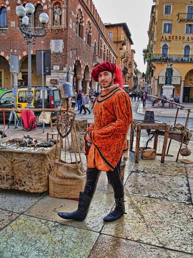 The medieval market in Verona, Italy is well worth a visit