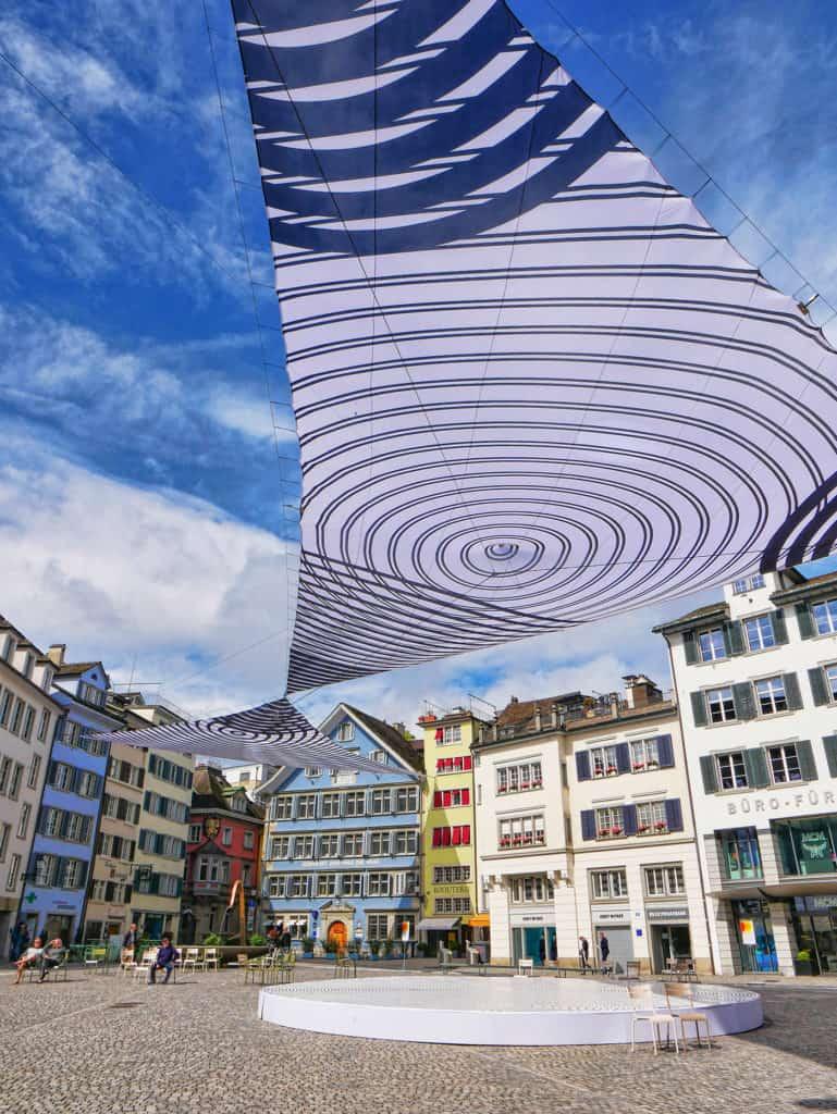 Spectacular temporary art installation by Claudia Comte in Munsterhof, Zurich, Switzerland