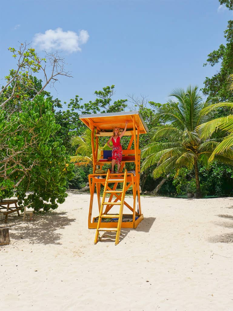 Colourful lifeguard's chair at Frenchman's Cove, Portland, Jamaica