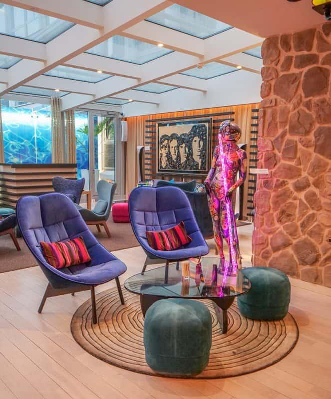 The stylish lounge at Hotel N'Vy Geneva, Switzerland