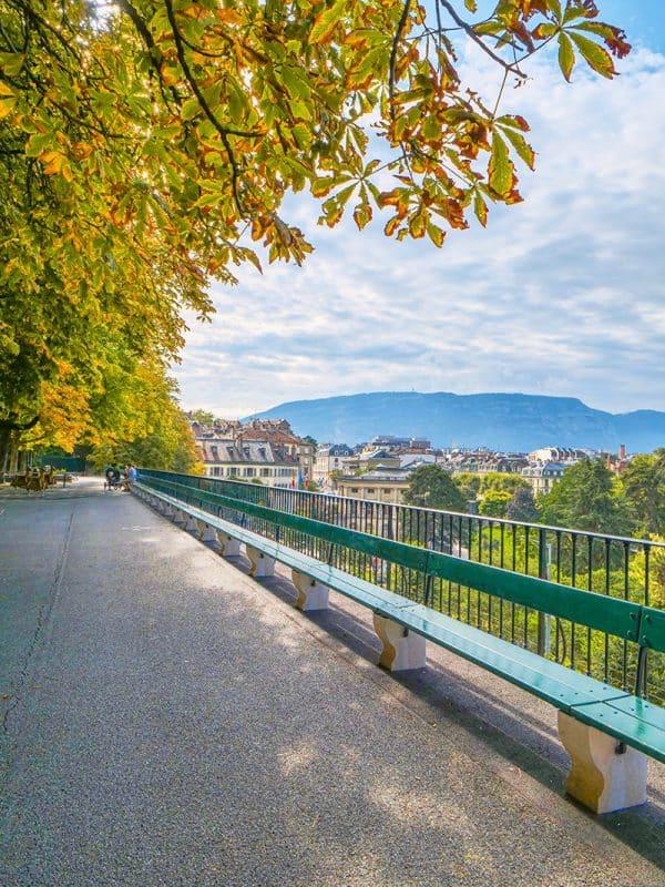 The longest wooden bench in the world, le Banc de la Treille, Geneva, Switzerland
