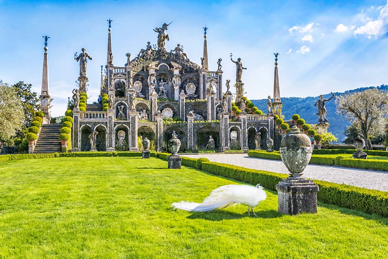 Isola Bella is an Italianate style garden on Lake Maggiore, Italy