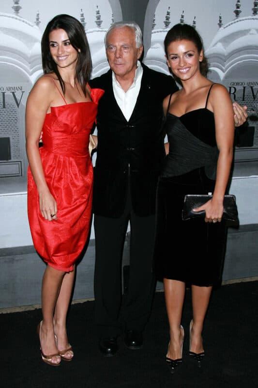 Penelope Cruz with Giorgio Armani and Monica Cruz at the Giorgio Armani Prive Show