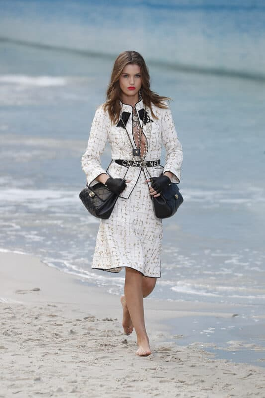 A Chanel suit and handbags