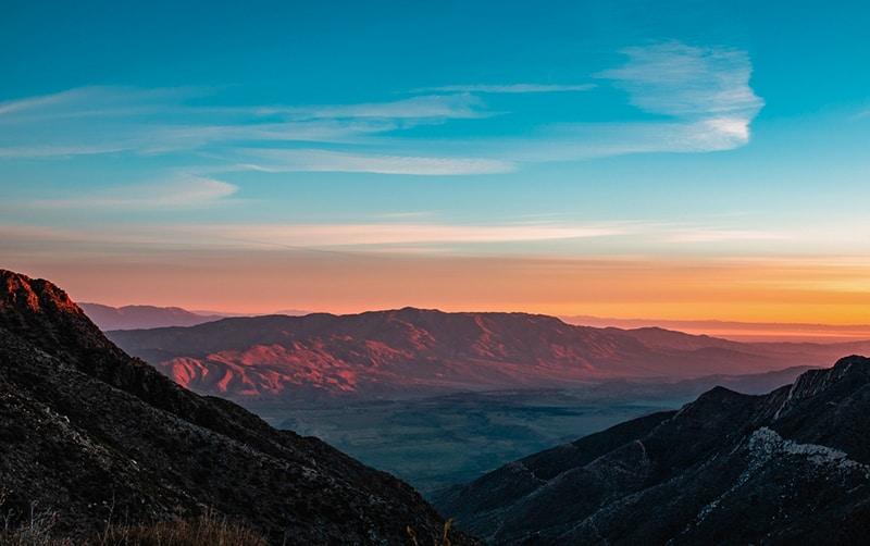 A high angle shot of Mount Laguna in California at sunset