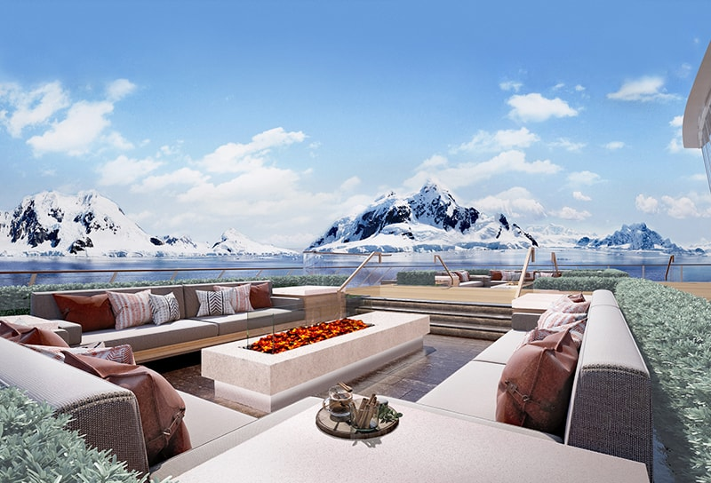 Rendering of the Deck 2 Aft area, Finse Terrace, on the Viking Expedition