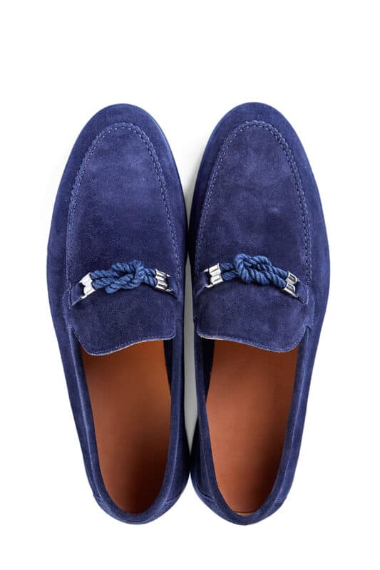 Men's blue suede loafers with a rope buckle