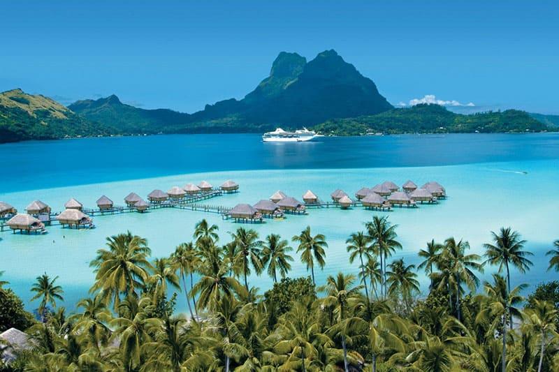 The Gauguin cruise ship in Bora Bora