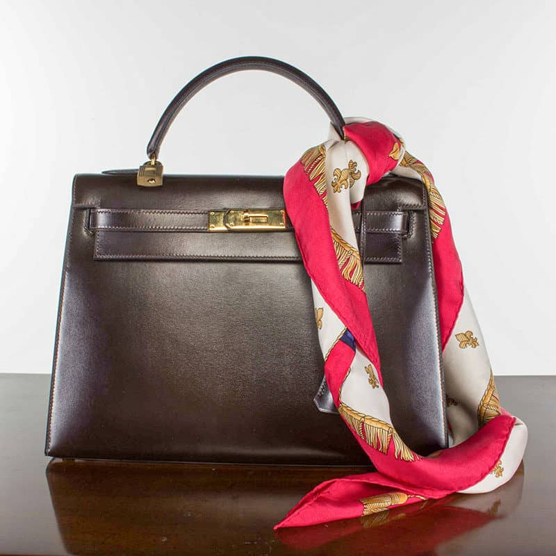 A black leather Hermès Birkin handbag