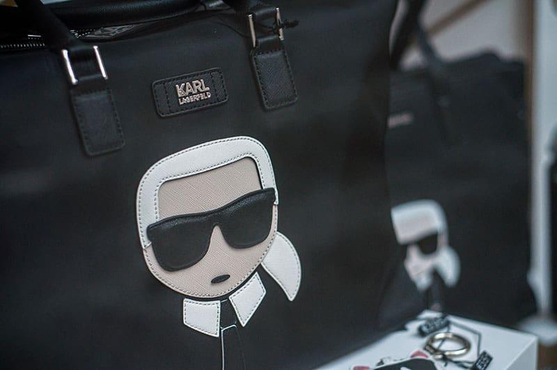 Closeup of a black leather Karl Lagerfeld handbag