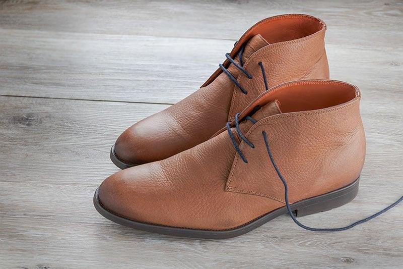 Nubuck leather brown men's chukka boots