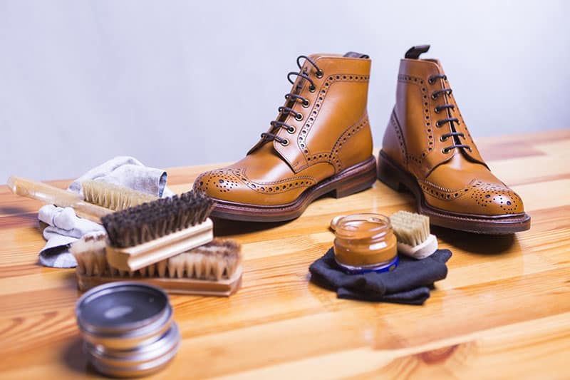 Tan brogue leather dress boots