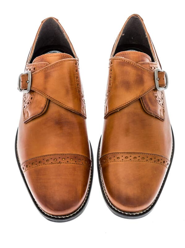 A pair of Monk single strap cap toe dress shoes