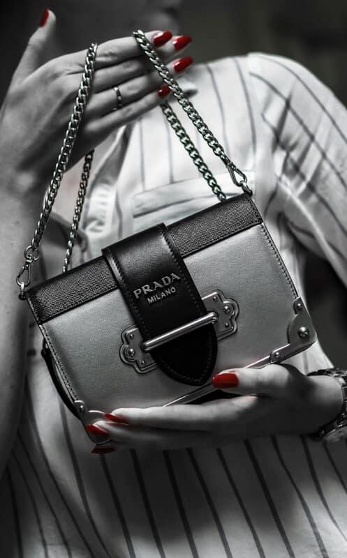 An elegant Prada leather handbag